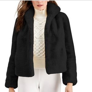 INC Faux Fur Black Coat Size: Small